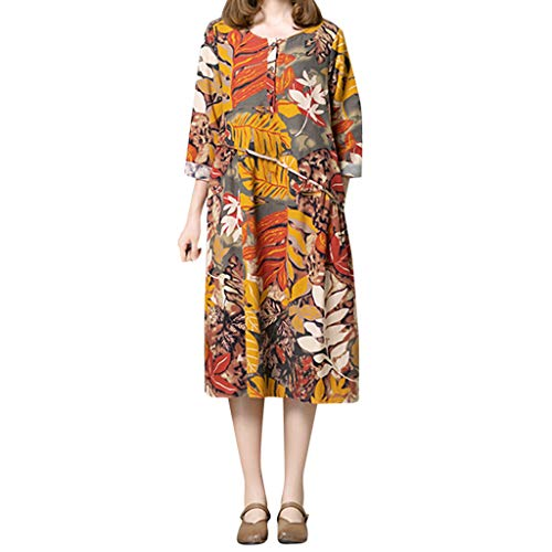 Lentil Floral - Keliay Bargain Women Flowers Long Sleevel Pocket Cotton Linen Loose Bohe Casual Dress