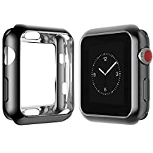 Apple Watch Case 42mm, FanTEK New Design TPU Soft iWatch Case Cover, All-around Protective Ultra-thin Apple Watch Case for Series 3 Series 2 Series 1 (Black-42mm)