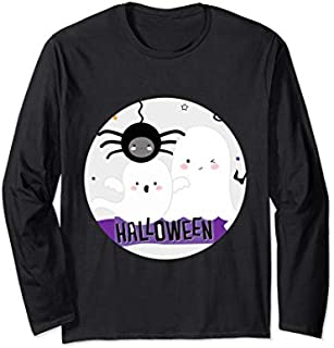 Boo Halloween Ghosts and Spider Long Sleeve T-shirt | Size S - 5XL