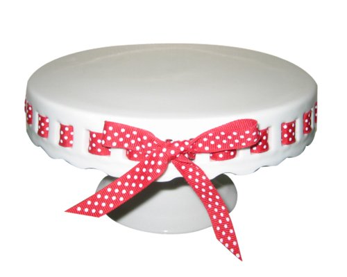 Gracie China by Coastline Imports 10-Inch Round Porcelain Skirted Cake Stand, Plain Round Pedestal White with Red White Polka Dot (Plain Round Pedestal)