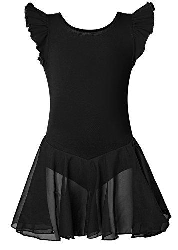 Girls Dance Ballet Leotard with Flying Sleeve Flowy Tutu Skirt Children Cotton Dress Dancewear (8-10 Years, Black)