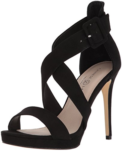 Chinese Laundry Women's Foxie Heeled Sandal, Black Suede, 8.5 M US