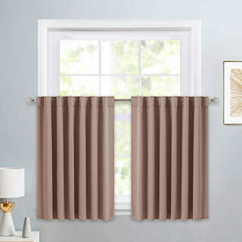 PONY DANCE Small Kitchen Valances - Back Tab Curtain Panels Thermal Insulated Window Drapes for Nursery/Kitchen/Living Room, 52 W x 36 L, Mocha, 1 Pair