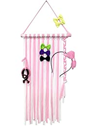 "Baby Girls Hair Bow Holder 30"" Long Bow Hanger Hair Clips Storage Organizer(Pink+White)"