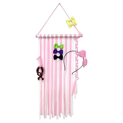 "QtGirl Baby Girls Hair Bow Holder 30"" Long Bow Hanger Hair Clips Storage Organizer(Pink+White)"