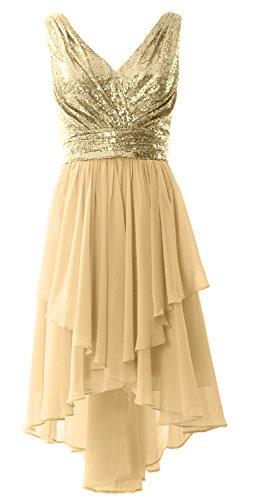 MACloth Women Straps V Neck Sequin Chiffon High Low Prom Dress ...