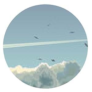 alfombrilla de ratón ilustración horizontal del avión entre las nubes. - ronda - 20cm
