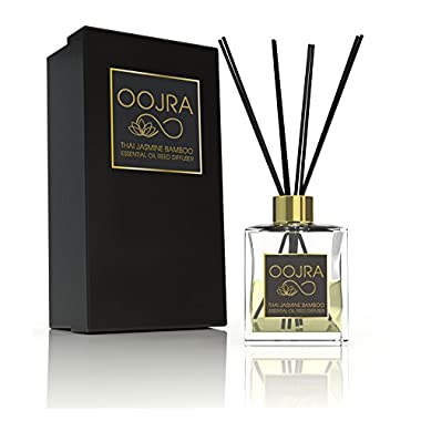 Oojra Thai Jasmine Bamboo Essential Oil Reed Diffuser Gift Set, Glass Bottle, Reed Sticks, Natural Scented Long Lasting Fragrance Oil (3+ Months 4 oz) for Aromatherapy and Air Freshener