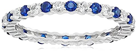 Rhodium Plated Sterling Silver Created White Sapphire and Created Blue Sapphire Alternating All Around Ring, Size - Blue Sapphire Eternity Ring