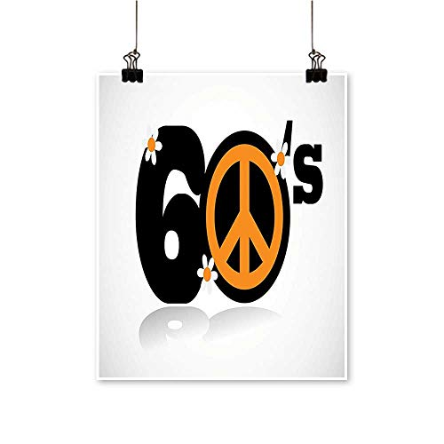 Modern Painting Sixties Peace Symbol Numbers Equality Historic Revolution Peaceful Daisy Luck Utopia Artwork for Home Decorations,24