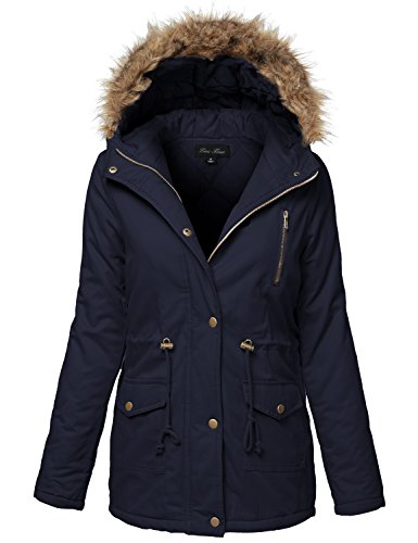 Warm Fur Trim Removable Hoodie Utility JacketsMedium128-Dark Navy