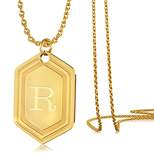UHIBROSNecklaces for Women, 14K Gold Plated Hexagon Initial Necklaces, Dainty Personalized Alphabet Letter Choker with Adjustable Chain Pendant, Jewelry Gift for Women, Girls or Men-R