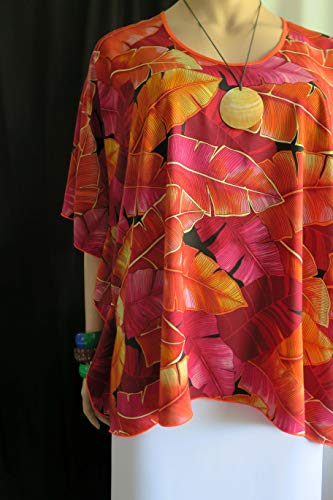 cc192bd64643f Sunrise Ti leaves Hawaiian Polynesian Clothing Woman's Butterfly caftan,  Cover-up Shirt tunic travel