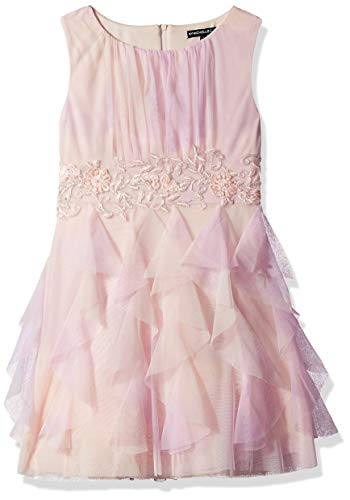My Michelle Girls' Big Jeweled Waist Party Dress with Cascade Skirt, Blush, 10 ()