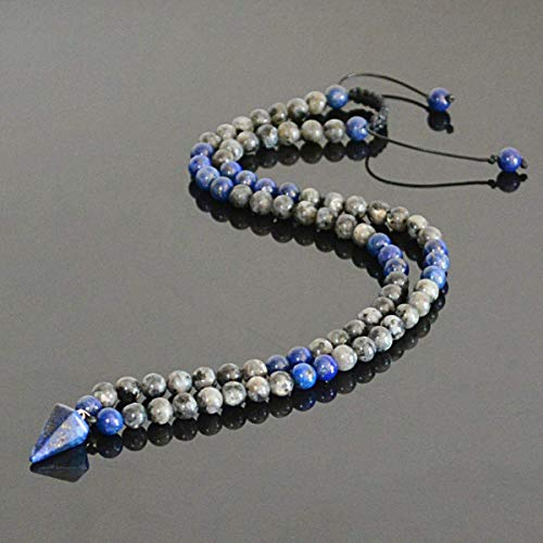 Lapis Lazuli Labradorite Natural Stone September Birthstone Handmade Long Beaded Dowsing Pendulum Necklace for Men