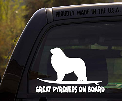 OhioDecals.com Great Pyrenees on Board - Funny Dog Breed Decal Sticker for car or Truck Window