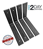 "4 Pack - 8""L x 6""H Angle Shelf Bracket, Iron Shelf Brackets, Metal Shelf Bracket, Industrial Shelf Bracket, Modern Shelf Bracket, Shelving"