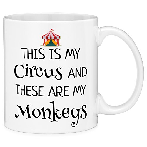 Birthday Monkey Gift - Mugvana This Is My Circus And These Are My Monkeys Mom and Kids Funny Gift Coffee Mug (11oz)