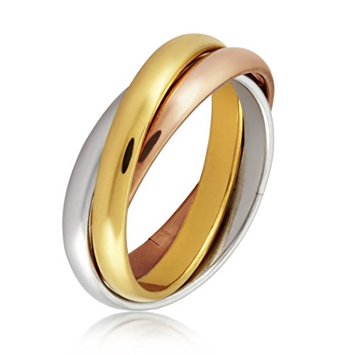 (West Coast Jewelry | ELYA Women's Tri-Color Stainless Steel Intertwined Triple Ring - Size 6)