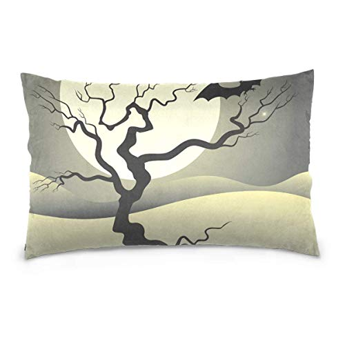 ZOZGETU Pillowcase,Halloween Night Polyester Pillow Covers 20 x 26 inch Standard Size Rectangle Cushion Decorative Pillowcase with Hidden Zipper Home Sofa ()