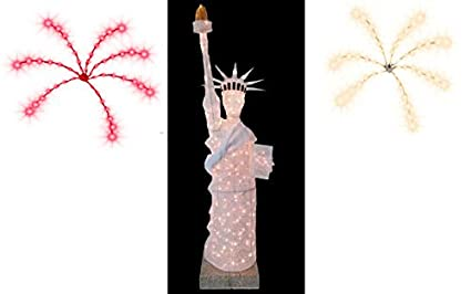 lighted outdoor christmas decoration or july 4th 7 statue of liberty patriotic mesh fabric figure
