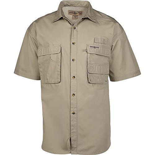 Cotton Short Sleeve Fishing Shirt (Hook & Tackle® Men's Gulfstream | Short Sleeve | Vented | Performance Fishing Shirt (X-Large, Sand))