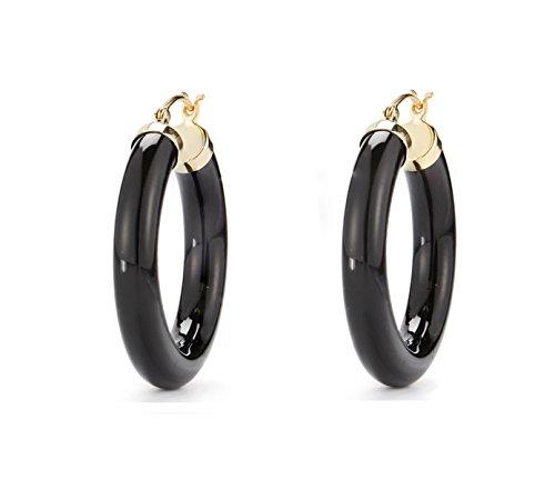 Black Onyx Hoop Earrings 14k Yellow Gold