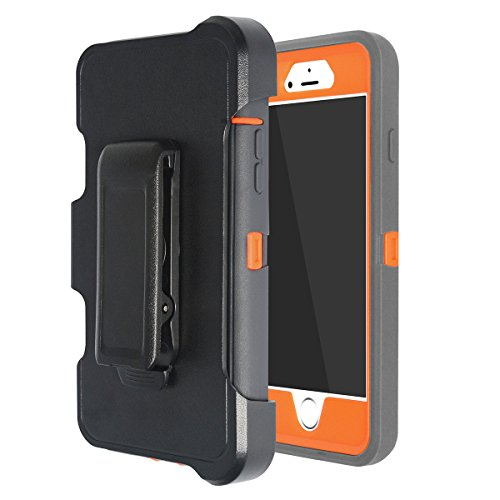 MAXCURY iPhone 6 plus/6S plus Case, MAXCURY Hybrid Rubber Plastic Impact Defender Rugged Hard Case with Built-in Screen Protector and Belt Clip Holster (Dk Grey/Orange and Clip)