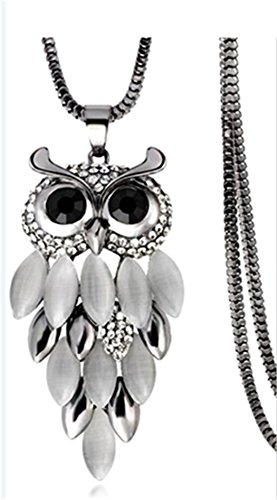 Myhouse Women Girls Fashion Owl Sweater Chain Opal Necklace Pendant Necklace for Gifts Decoration Charms Findings (Black)