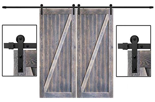 Sliding Barn Door Hardware 12ft Track I Shape Hanger with All The Accessories Double Door Needed, Super Smoothly and Quietly Wheel - DonYoung Designed for Easy Installation