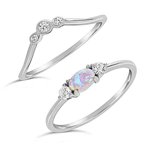 Sterling Forever - Gold Vermeil Created Opal & CZ Stackable Ring Set (in Gold and Silver) (Sterling-Silver, 6)