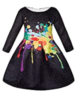 Girls Kids Casual Dress Paint Butterfly Rose Animal Fall Long Sleeve/Sleeveless Dresses