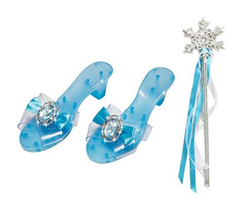 Girls Snow Queen Snow Princess Slipper Snow Queen Snowflake Wand (Disney Princess Dress Up Shoes)