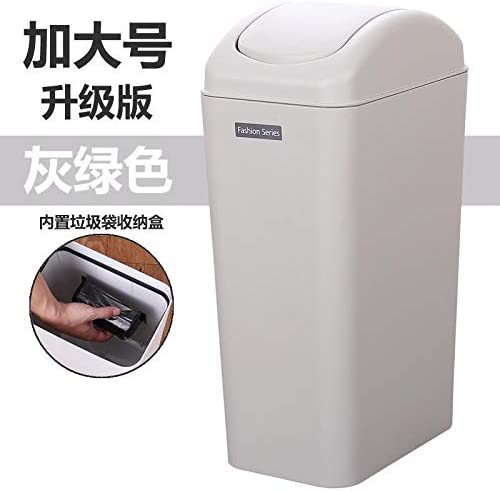 coperchio a dondolo soggiorno Pattumiera in plastica da 14 l bagno facile da trasportare grigio verde anti-dumping creativa compatto pattumiera per cucina