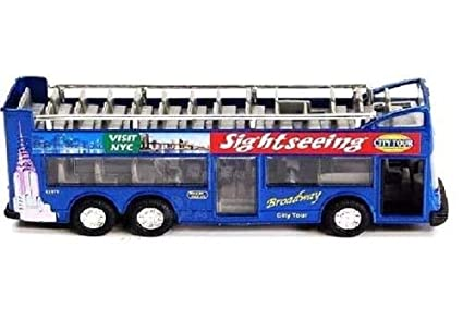 SINGFAT BLUE New York city double decker sightseeing tour bus diecast car  model 6 inch but NO box