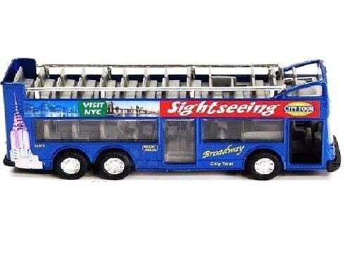(SINGFAT BLUE New York city double decker sightseeing tour bus diecast car model 6 inch but NO box. )