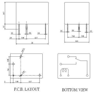 WITTKOWARE Print-Leistungsrelais 24V- 12A//250V~ 1 Wechsler