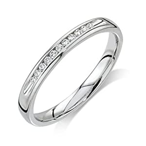 Wedding Band Diamond .110 CTW Round I color SI1 clarity 10k White Gold Ring MADE IN THE USA