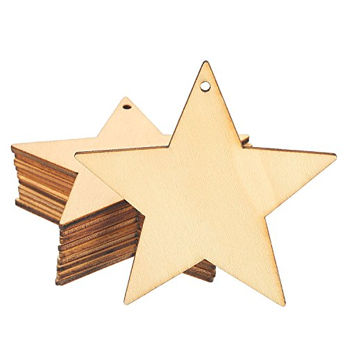 Wood Star Ornaments (BBTO 10 Packs Unfinished Wooden Star Cutouts Hanging Ornaments with 10 Packs Strings for Christmas, Festival, Embellishments, Wedding, Craft)
