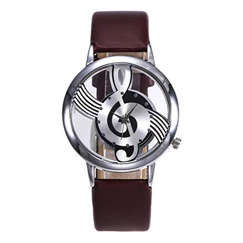 NXDA Wrist watch brand new leather strap quartz analog watch fashion hollow music characters easy to read dial (Brown)