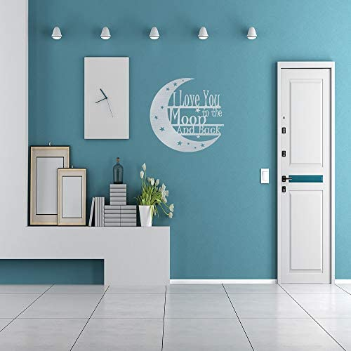Steel Roots Decor Powder Coated Metal I Love You to The Moon and Back Wall Art Laser Cut Holes 18 inch Silver