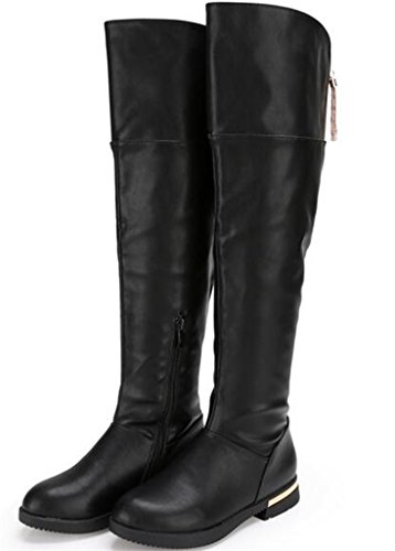 DADAWEN Girl's Fashion Side Zipper Over the Knee Fur Linted High Boots Black US Size 4 M Big Kid (Girls Knee High Rain Boots compare prices)
