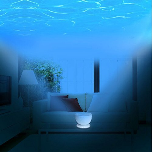LIWUYOU Ocean Night Light Projector,Aurora Night Light Projector Lamp with 12 LED &7 Colors Night Light with Built-in Mini Music Player for Living Room and Bedroom for Kids Children Nurse
