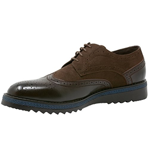 alpine swiss ALEC Men's Ripple Sole Wingtip Shoes Leather Lining & Insole - Runs 1 Size Big Brown 7oM7URVDIP