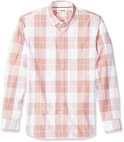 Goodthreads Men's Standard-Fit Long-Sleeve Plaid Poplin Shirt with Button-Down Collar, Pink, Medium Tall