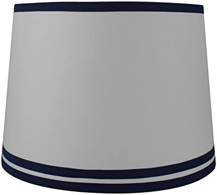 Urbanest White with Double Trim French Drum Lampshade, 12-inch by 14-inch by 10-inch, Navy Blue, Spider