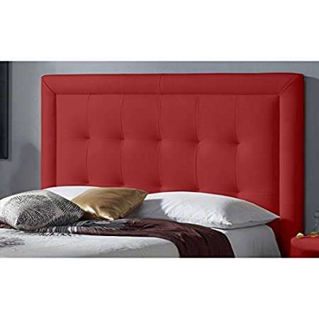 square faux leather headboard red lit de 120 cm de large - Lit En 120 Cm De Large