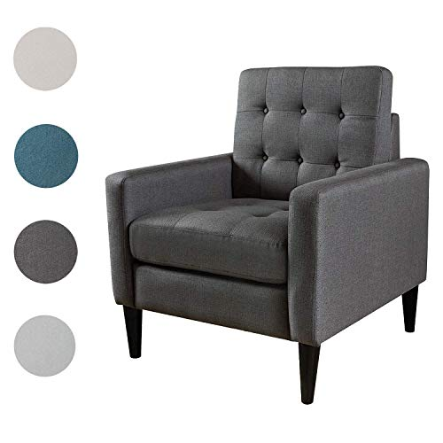 Top Space Mid-Century Modern Accent Chair Single Sofa Living Room Furniture Arm Chair Home Seat (Dark Grey)