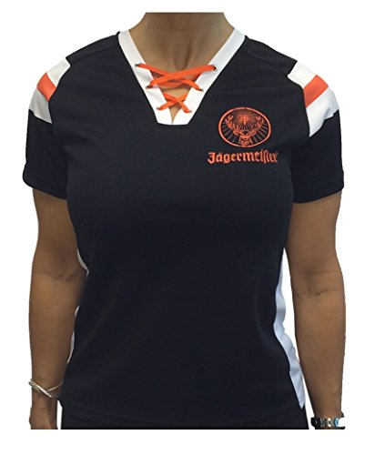 Jagermeister Ladies Football Jersey Shirt Black Stag Logo (S/M)