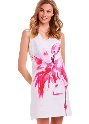 f2556d16b Charlie Paige Summer Flamingo Linen Blend Dress (Medium) White, Pink from Charlie  Paige. found at Amazon
